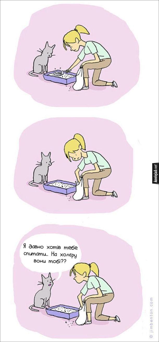 Комікс про котячі какашки (какуни). Кіт дивиться, як господиня вибирає лопаткою з лотка його гівна і кладе в пакет. Кіт каже: - Я давно хотів тебе спитати... На холєру вони тобі??