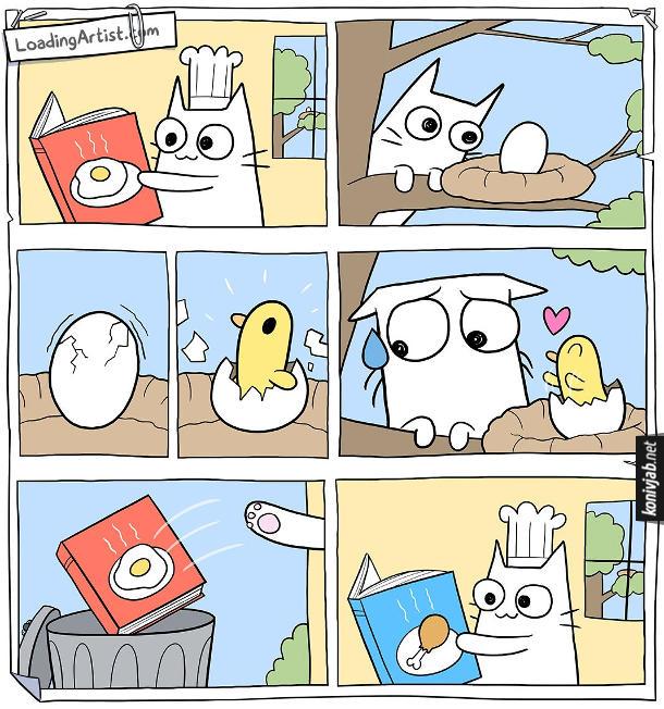 Комікс Кіт і пташеня. Кіт читає книжку рецептів, як приготувати смаженю. Потім поліз на дерево, щоб забрати з гнізда яйце. Але яйце почало тріскатись і з нього вилупилось пташеня, яке стало мило посміхатись до кота. Кіт подумав, викинув на смітник книжку з рецептами смажені, а натомість почав читати нову книжку - рецепти, як приготувати пташеня