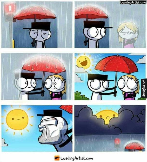 Комікс Романтика під дощем. Хлопець стоїть під дощем з парасолею, поряд мокне дівчина без парасолі.  Хлопець  накрив її парасолькою і дівчина усміхнулась до нього. І тут дощ скінчився і зникла романтична ситуація. Хлопець злим поглядом глянув на сонце і воно знов сзховалось за хмарами і почався дощ. Романтику врятовано