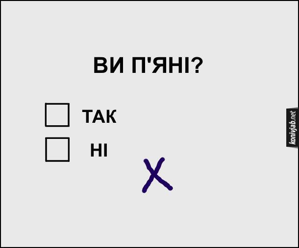 """Жарт. Тест на алкоголь. Питання: Ви п'яні? І варіанти відповіді - """"так"""" і """"ні"""". Хтось мав поставити хрестик біля """"ні"""", але не влучив і намалював збоку - певно був п'яний"""