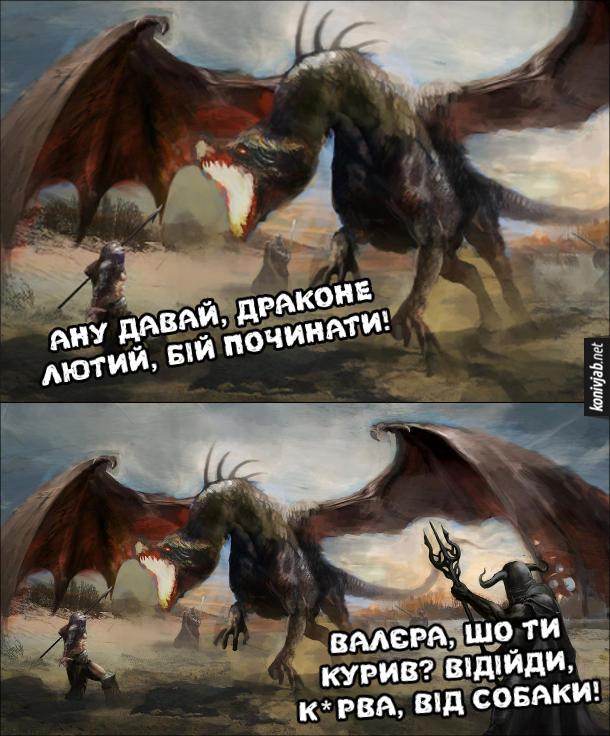Прикол про галюни. Лицар до дракона: - Ану давай, драконе лютий, бій починати! Збоку чути голос друга: - Валєра, шо ти курив? відійди, курва, від собаки!