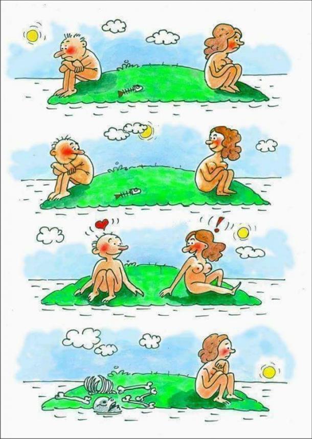 Смішний малюнок. Чоловік і жінка на острові. Сидять і дивляться в море потім поглянули одне на одного із зацікавленністю. За деякий час жінка сидить і дивиться на море, а біля неї об'їдений чоловічий скелет - з'їла