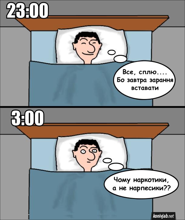 Жарт про засинання. О 23:00 хлопець лежить в ліжку і думає: - Все, сплю.... Бо завтра зарання вставати. О 3:00 ще досі не спить і думками дійшов до такого: - Чому наркотики, а не нарпесики??