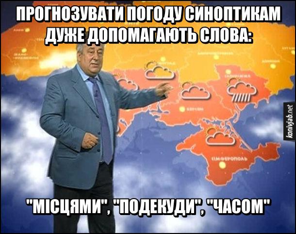 Мем Прогноз погоди. Прогнозувати погоду синоптикам дуже допомагають слова «місцями», «подекуди» та «часом». На фото: Микола Луценко