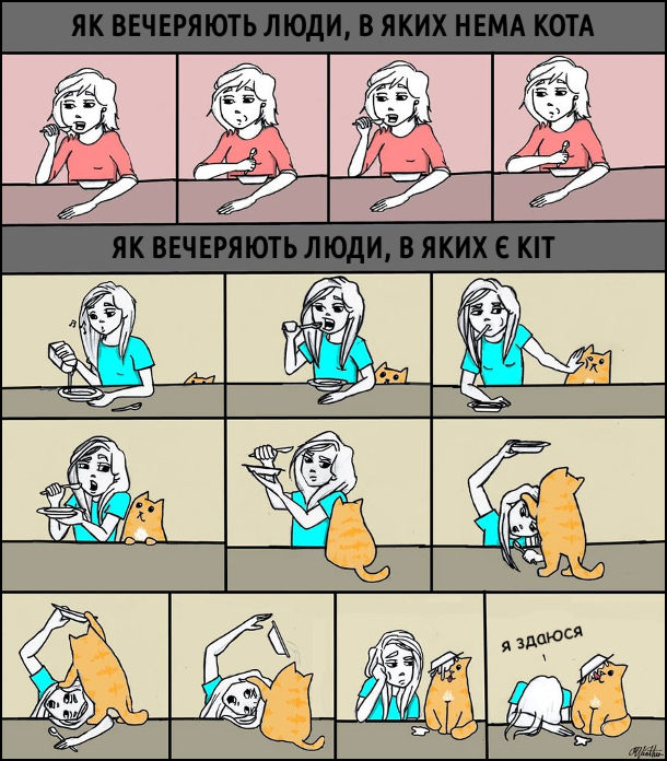 """Смішний малюнок: З котом і без кота. Як вечеряють люди, в яких нема кота: спокійнісінько собі їдять. Як вечеряють люди, в яких нема кота: кіт виліз на стіл і перекинув тарілка (господиня боролась, але згодом змирилась і сказала: """"Я здаюся"""")"""