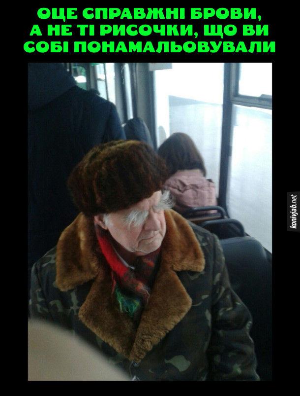 Жарт про брови. В громадському транспорті сидить дід з великими кошлатими бровами. Оце справжні брови, а не ті рисочки, що ви собі понамальовували