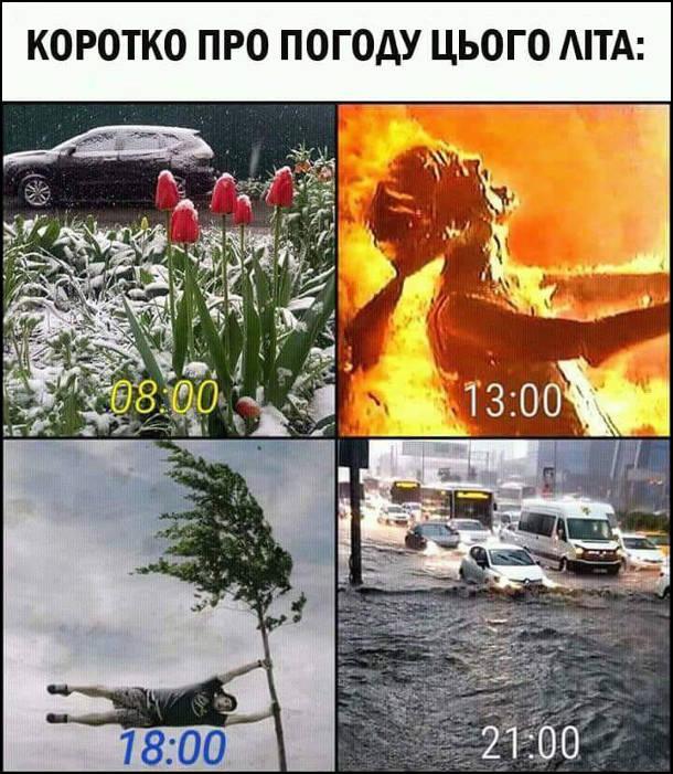 Прикол. Погода цього літа. Коротко про погоду цього літа. 8:00 - сніг. 13:00 - спека (сцена з атомним вибухом в фільмі Термінатор 2). 18:00 - вітер (соловік тримається за дерево). 21:00 - злива (на вулиці паводок)