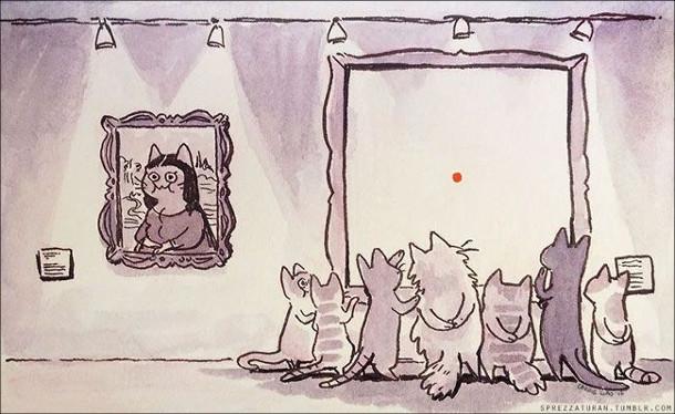 Смішний малюнок. Коти в музеї дивляться лише на одну картину - де зображена червона цяточка
