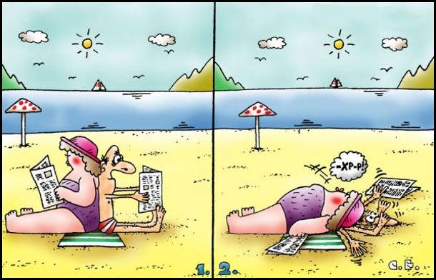 Чоловік і дружина на пляжі сидять спинами один до одного. Дружина гладка, а чоловік худенький. Дружина лахла і придавила чоловіка