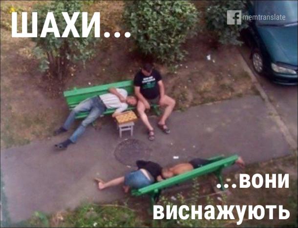 Прикол про шахи. Шахи... Вони виснажують. На лавочках сплять п'яні чоловіки, біля них шахівниця