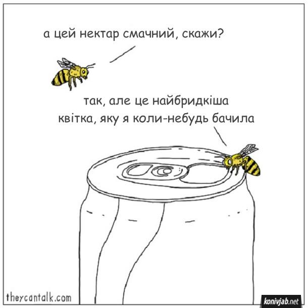 Смішний малюнок про бджіл. Дві бджоли (чи оси) п'ють напій з бляшанки. - А цей нектар смачний, скажи? - Так, але це найбридкіша квітка, яку я коли-небудь бачила