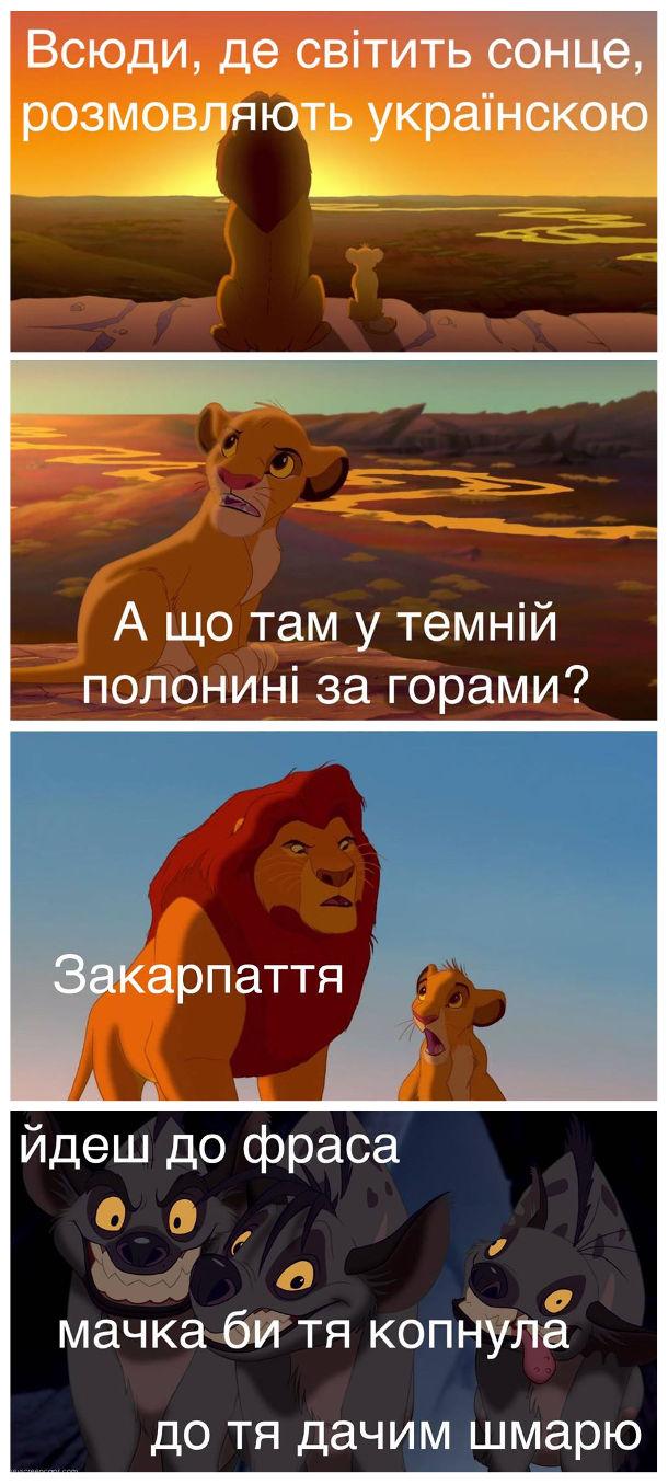 Мем про Закарпаття. Кадри з мультфільму Король Лев. Муфаса: - Всюди, де світить сонце, розмовляють українською. - А що там у темній полонині за горами? - Закарпаття. Гієни в темній долині: - ... йдеш до фраса... мачка би тя копнула... до тя дачим шмарю
