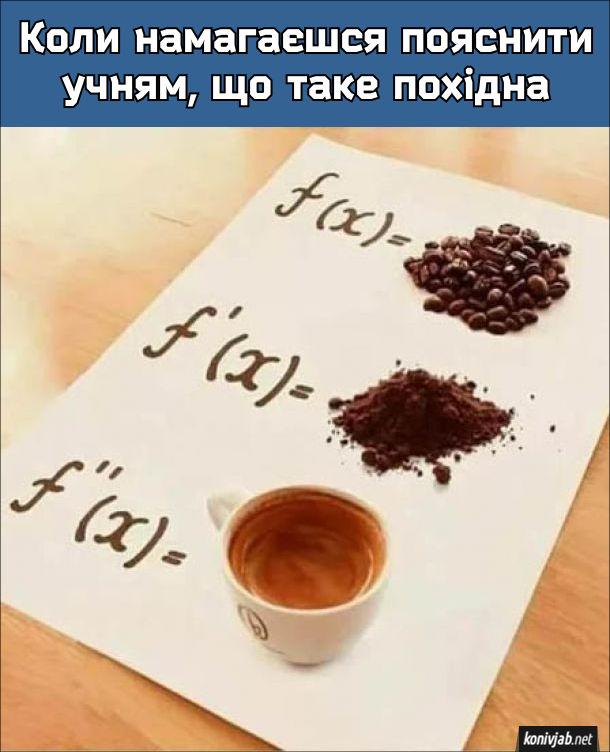 Що таке похідна. Коли намагаєшся пояснити учням, що таке похідна. Функція - це зерна кави; похідна функції - змелені зерна; похідна з похідної - кава