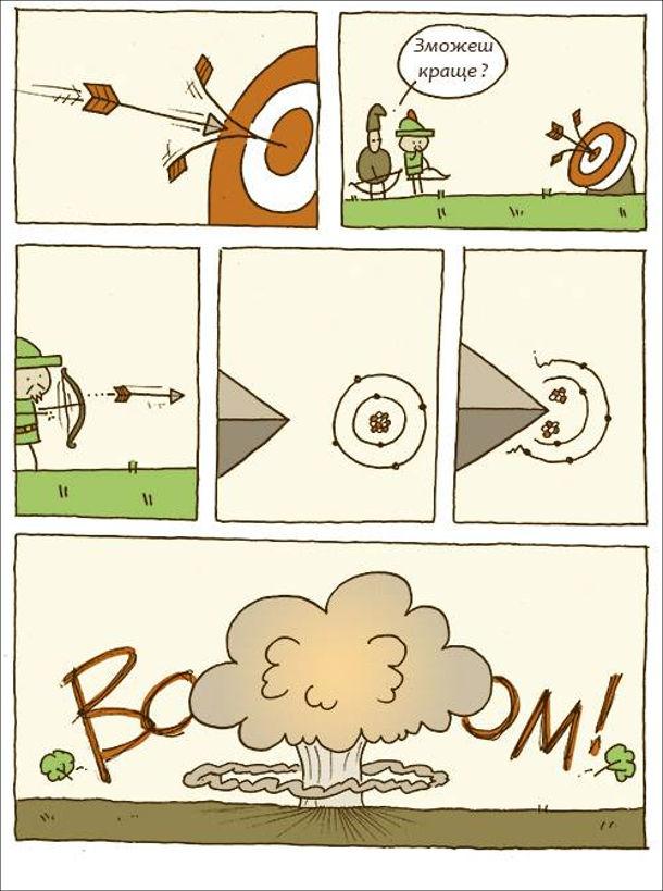 Робін Гуд влучає в ціль. Лучник влучив у стрілу, яка влучила в ціль і каже Робін Гудові: - Зможеш краще? Робін Гуд влучив в центр і розділив два атоми, що спричинило ядерний вибух