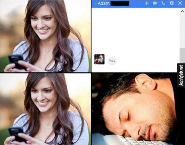 Хлопець набирає повідомлення. Дівчина бивиться в месенджер, і там ніби її хлопець набирає повідомлення. Дівчина чекає, а насправді хлопець заснув на клавіатурі