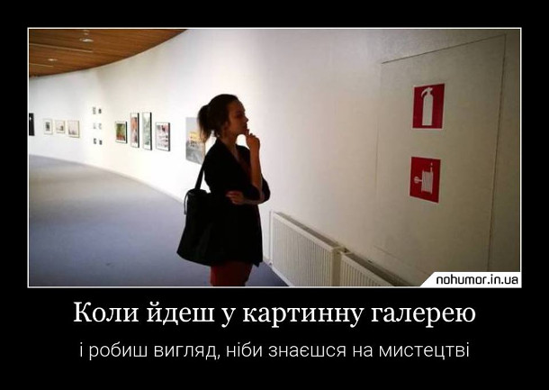 Прикол про картинну галерею. Коли йдеш в картинну галерею і робиш вигляд, ніби знаєшся на мистецтві. Дівчина дивиться на попереджувальні знаки, що намальовані на пожежному щитку