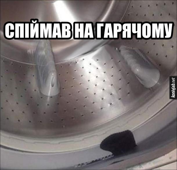 Куди діваються шкарпетки. Заглянув в пральну машинку, а там одна шкарпетка хотіла втекти. Спіймав на гарячому