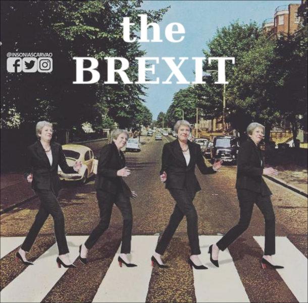 """Мем про Брекзит. Дивний танок Терези Мей на вулиці Еббі Роуд. Ніби обкладинка гурту The Beatles """"Abbey Road"""""""