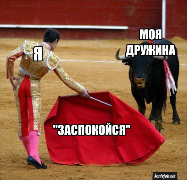 """Мем про лайку з дружиною. Я- тореадор; моя дружина - бик; моя фраза """"заспокойся"""" - червона ганчірка"""