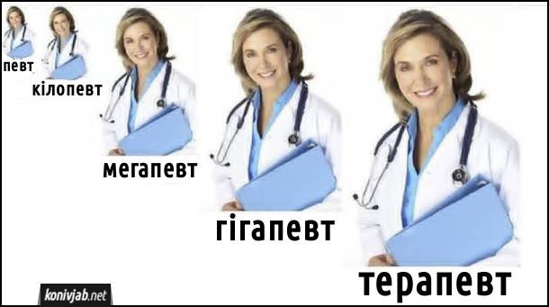 Прикол про терапевта. Певт, кілопевт, мегапевт, гігапевт, терапевт