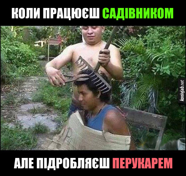 Жарт про перукаря. Коли працюєш садівником, але підробляєш перукарем. Чоловік стриже іншого за допомогою граблів і секатора