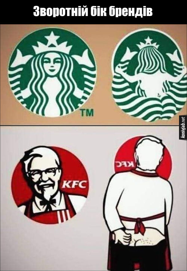 Прикол про бренди. Зворотній бік брендів Starbucks і KFC.