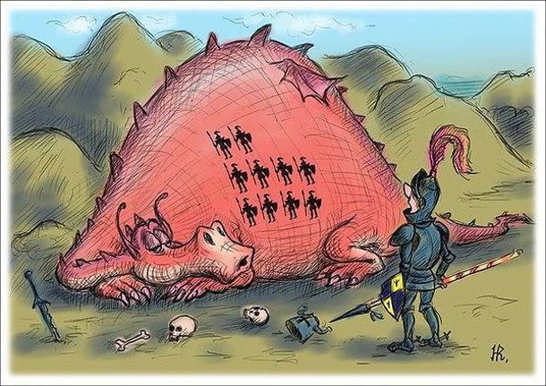 Смішний малюнок Лицар і дракон. Лицар прийшов битися з драконом і побачив, що той спить. На череві дракона помітки з 10 вбитих ним лицарів. Лицар перелякався