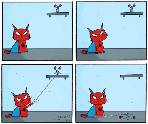 Супергерой Кіт-Павук, який пускає з руки павутиння і скидає з полички вазу