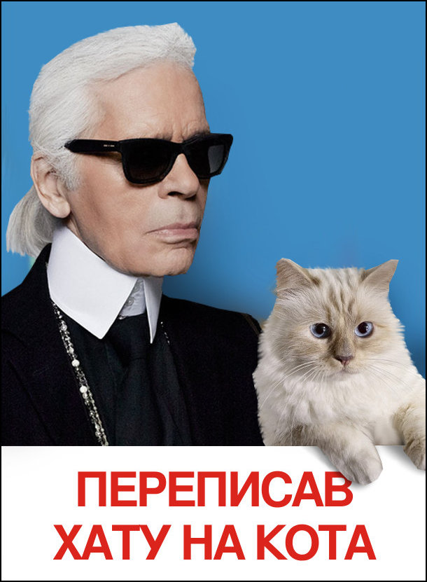 Мем Карл Лагерфельд. Переписав хату на кота