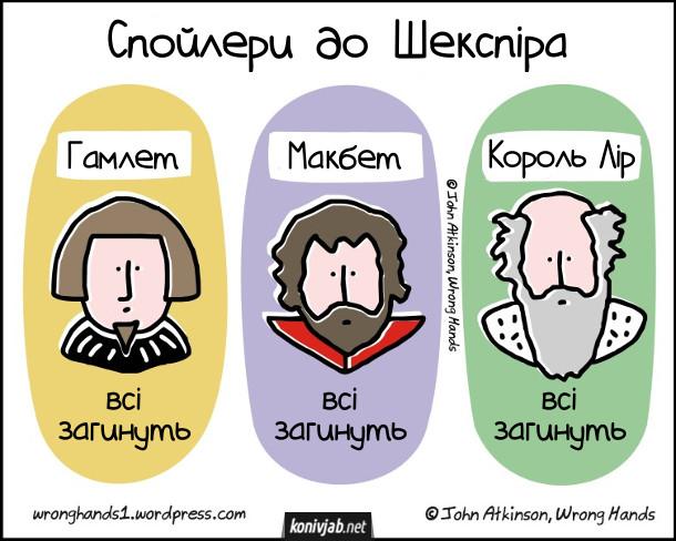 Прикол про Шекспіра. Спойлери до творів Шекспіра. Гамлет, Макбет, Король Лір - всі загинуть