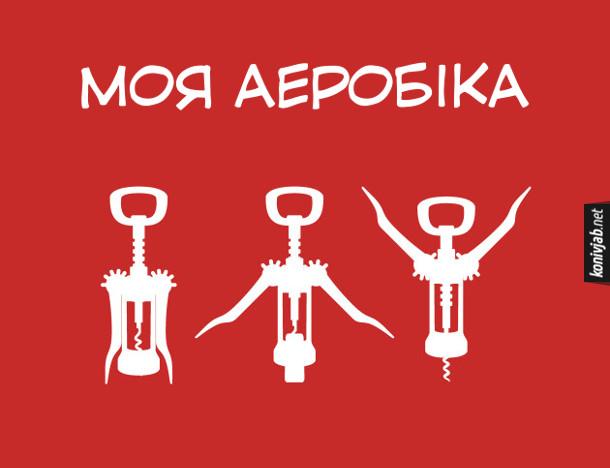 Жарт про алкоголізм. Моя аеробіка - відкривання штопором вина