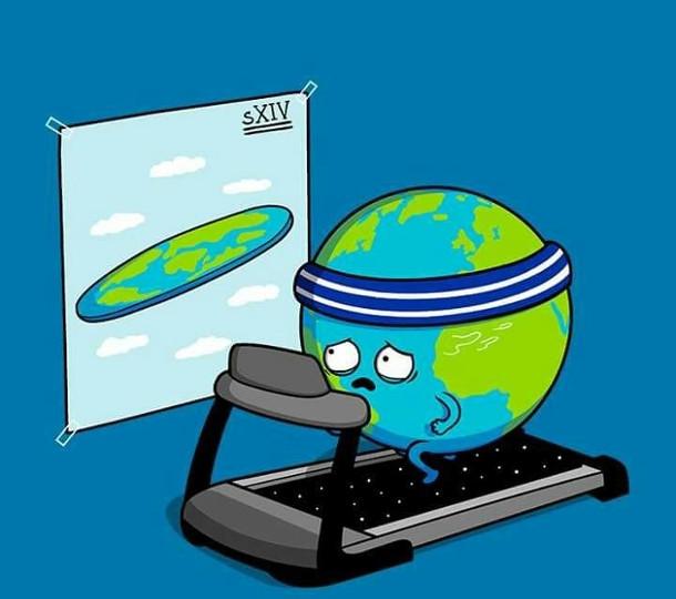 Смішний малюнок про Землю. Земля біжить на біговій доріжці і з заздрістю дивиться на плакат, де зображена пласка Земля