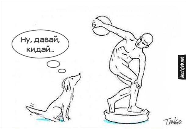 Смішне про собаку. Пес стоїть біля скульптури метальника диску чекає і думає: - Ну давай, кидай...