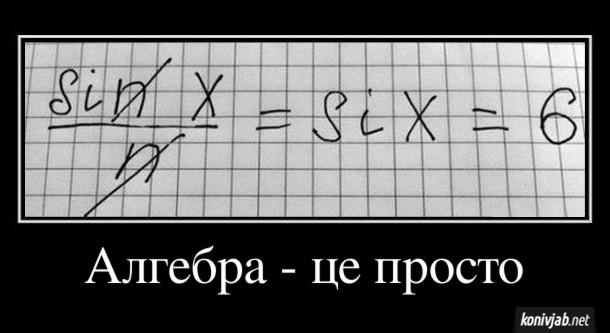 Демотиватор про математику. Алгебра - це просто