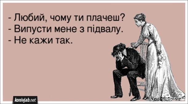 Анекдот про маніячку. - Любий, чому ти плачеш? - Випусти мене з підвалу. - Не кажи так.
