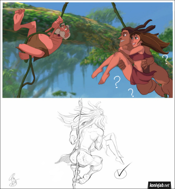 """Прикол Тарзан і Джейн. Кадр з діснеєвського мультфільму """"Тарзан"""". Де Тарзан Гойдається на ліані, тримаючи Джейн обома руками. Як же він тримається на ліані? Охопивши ліану сідницями (що ілюструє малюнок з іншого ракурсу)"""