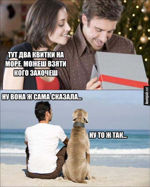 Жарт Квитки на море. Дівчина дарує хлопцеві подарунок: - Тут два квитки на море. Можеш взяти кого захочеш. Хлопець взяв з собою собаку. Сидять вони на березі моря. Хлопець: - Ну вона ж сама сказала... Собака: - Ну то ж так...