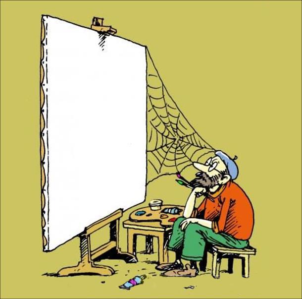 Смішний малюнок про художника. В художника довго нема натхнення - художник так довго сидить нерухомо перед чистим полотном, що навіть з'явилось павутиння