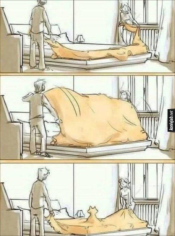 Смішний комікс про кота в хаті. Чоловік з дружиною застеляють ліжко. Накрили ліжко ковдрою, а під нею вже видніються контури кота (вже встиг вицибнути на ліжко)