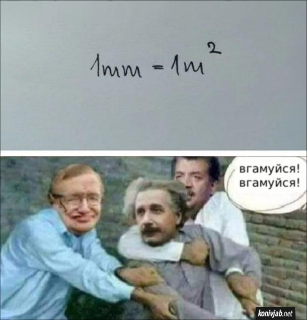 Мем математика. 1mm=1m(2). Стівен Хокінг і Деграс Тайсон тримають Ейнштейна?: - Вгамуйся! Вгамуйся!