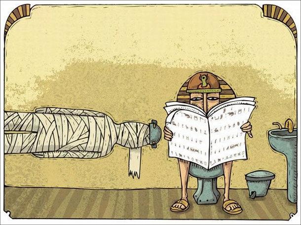 Смішний малюнок. Туалет в Стародавньому Єгипті. Замість туалетного паперу - мумія
