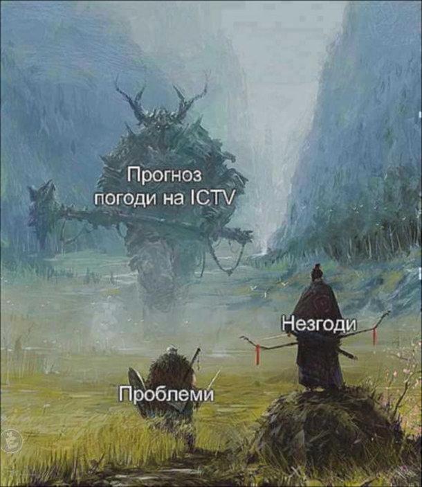 Мем Миколина погода. Прогноз погоди на ICTV, проблеми та незгоди. Картина Якуба Розальського