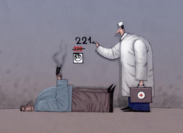 """Смішний малюнок про 220 Вольт. Лежить чоловік, який запихав пальці в розетку. Прийшов лікар, закреслив надпис """"220"""", що був біля розетки і написав """"221"""""""