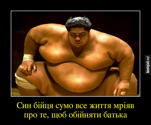 Анекдот про сумо. Син бійця сумо все життя мріяв про те, щоб обійняти батька
