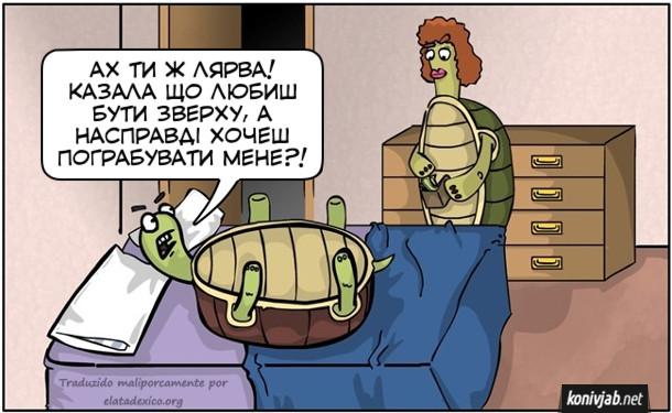 Смішний малюнок про черепах. Черепаха-самець лежить на ліжку на спині і не може перевернутися. А черепаха-самиця в цей час бере гроші з його гаманця. Самець: - Ах ти ж лярва! Казала, шо любиш бути зверху, а насправді хочеш пограбувати мене?!