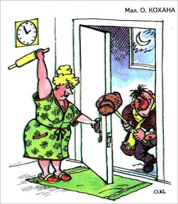 Смішний малюнок чоловік прийшов п'яний додому. Жінка чекає за дверима і замахнулася качалкою. Чоловік тримає свою шапку на палиці