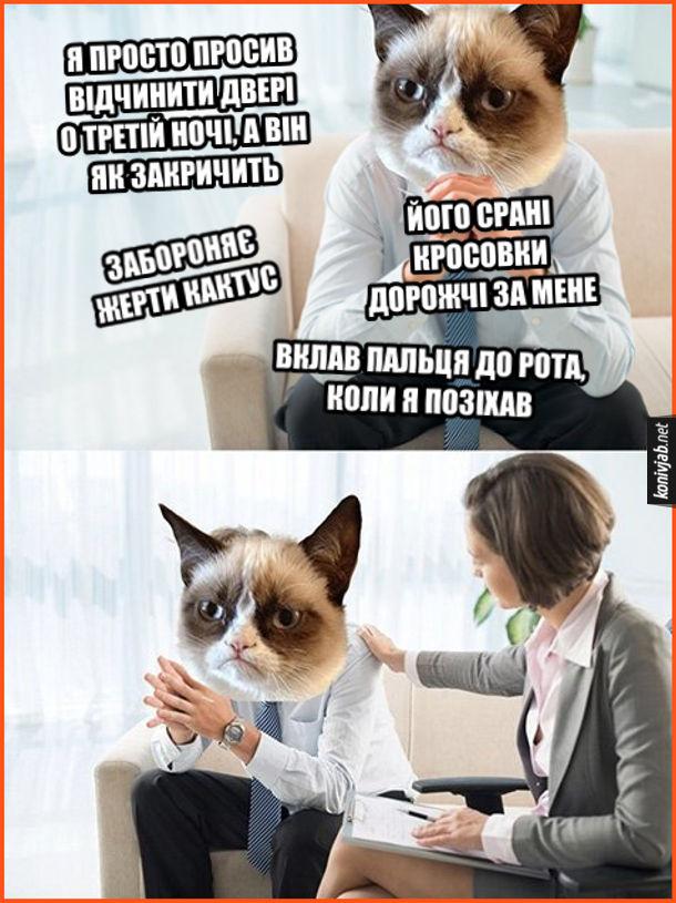 Мем Кіт скаржиться на долю. Кіт в бідкається в кабінеті психотерапевта: - Я просто просив відчинити двері о третій ночі, а він як закричить... Забороняє жерти кактус... Його срані кросовки дорожчі за мене... Вклав пальця до рота, коли я позіхав...