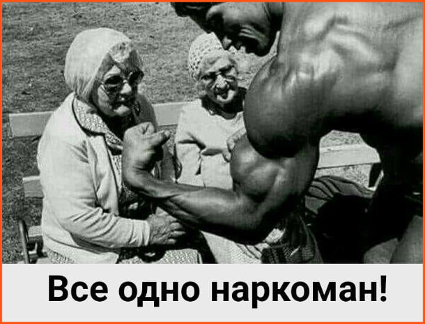 Бабці і Шварценеггер. Арнольд Шварценеггер демонструє бабцям свої біцепси. Бабці: - Все одно наркоман
