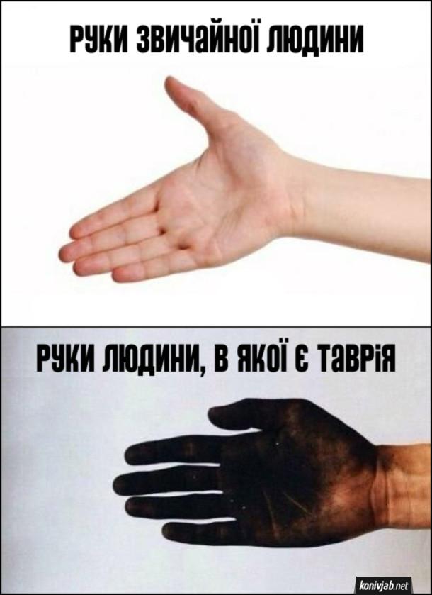 Жарт про Таврію. Руки звичайної людини (нормальні) і руки людини, в якої є таврія (брудні, всі в мастилі)