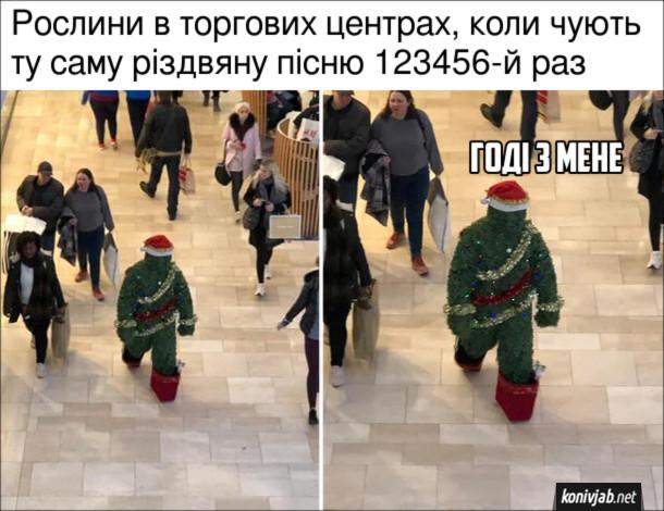 Прикол Різдво в ТРЦ. Рослини в торгових центрах, коли чують ту саму різдвяну пісню 123456-й раз. Рослина йде і каже: - Годі з мене